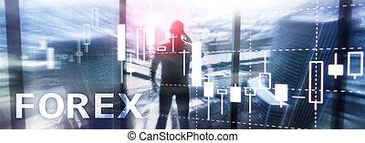 forex, financier, centre, business, trace établissez graphique, brouillé, arrière-plan., bougie, commerce