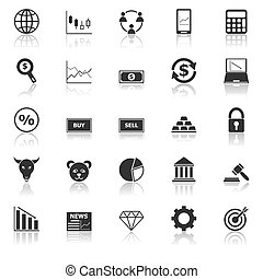 Forex icons with reflect on white background