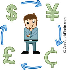 Drawing Art of Cartoon Businessman Thinking of Currency Exchange Vector Illustration