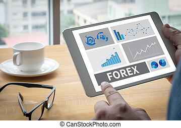 forex, operação bancária, mercado conservado estoque, finanças, online