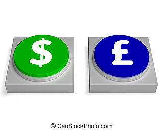 forex, scambio, libbre, dollaro, straniero, segni, o, mostra