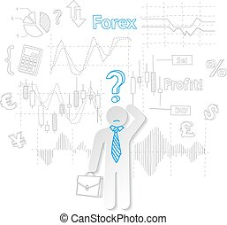 Forex trader and question symbol stock trading vector...