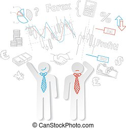 Forex traders and symbols stock trading vector