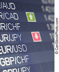 currency trading shot taken from the trading platform, closeup, for forex, stock market and other finance themes