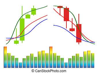 forex, vector, comercio, mercancía