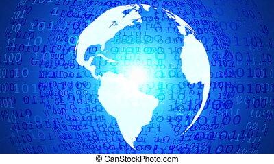 forgó, bolygó földdel feltölt, és, világ térkép, teljes ügy, háttér, kék, digitális, lineáris adatok, 4