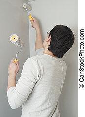 forgócsapok, munkás, két, szobafestő