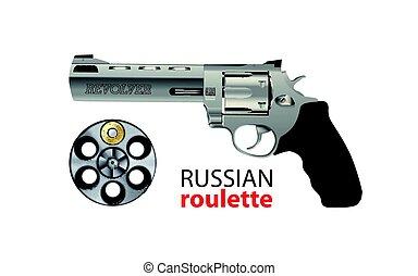 forgópisztoly, -, orosz roulette, játék, -, kockáztat,...