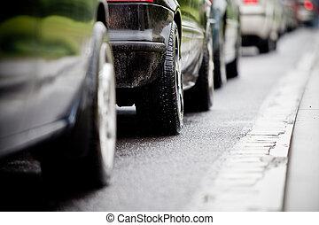 forgalmi akadály, alatt, elárasztott, autóút, caus