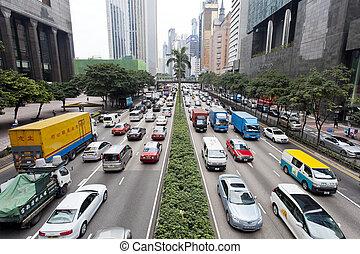 forgalmi akadály, alatt, hong kong