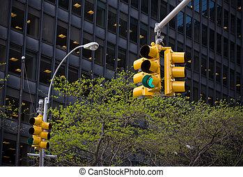 forgalmi jelzőlámpák, alatt, new york