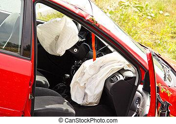 forgalom, accident., autóbaleset, kiszabadítás, és, police., autó lezuhan