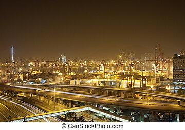 forgalom, alatt, autóút, közül, egy, modern, város