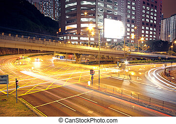 forgalom, alatt, modern, város, éjjel