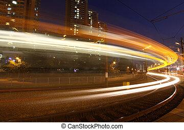 forgalom, alatt, modern, város, fény, rail.