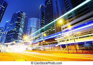 forgalom, alatt, város, éjjel