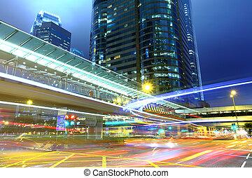 forgalom, nyom, alatt, város