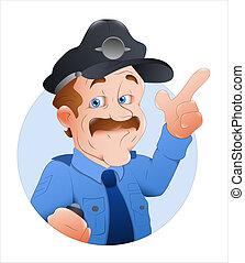 forgalom, vektor, rendőrség tiszt