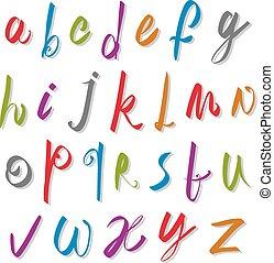 forgatókönyv, abc, letters., vektor, vektor, betűtípus, kézírásos