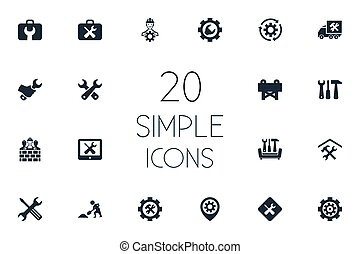 forgat, szerszámosláda, vektor, csavarhúzó, alapismeretek, ficam, egyszerű, builder., más, helyreállítás, megjavítás, synonyms, állhatatos, építő, ábra, icons.