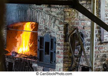 forge, brûler, fournaise