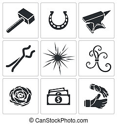 Forge icon collection on a white background