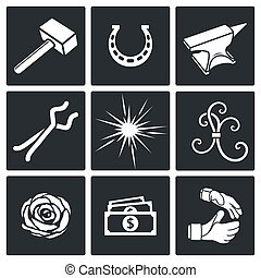 Forge Icon set - Forge icon collection on a black background