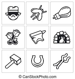 Forge icons. Vector Illustration. - Vector Isolated Flat ...