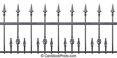 Forged decorative fence isolated horizontal panorama, large...