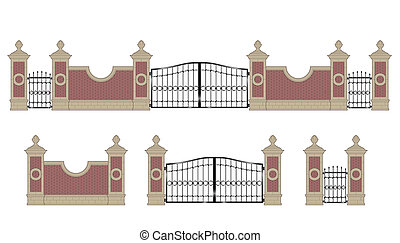 Forged iron gate with pillars
