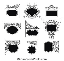 Forged metal signboards set. Linear design. Vector outline illustration isolated on white.