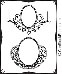 Two wrought-iron frames for mirrors