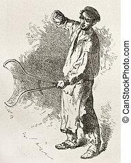 Forger old illustration. Created by Neuville after Bonhomme, published on Le Tour du Monde, Paris, 186