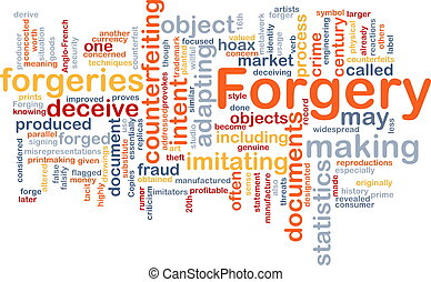 Forgery background concept wordcloud
