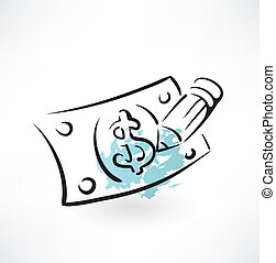 forgery of money grunge icon