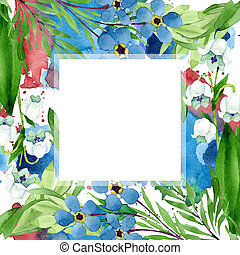 Forget me not and lily of the valley flowers. Watercolor background illustration set. Frame border ornament square.