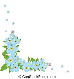 Forget-me- not corner on the wite background with copy space for your text. Vector illustration
