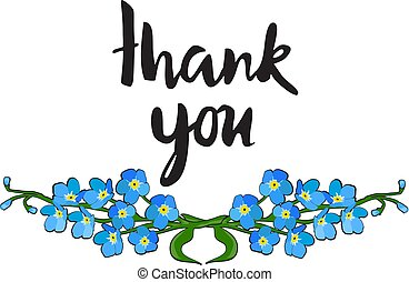 forget me not flower - vector forget me not thank you card