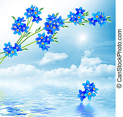 forget-me-not flowers on a background of blue sky with...