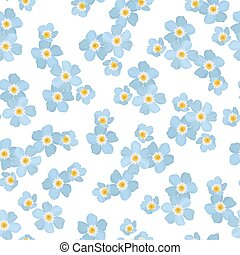 Forget-me-not myosotis floral seamless pattern. Blue spring flowers inflorescence bloom blossom on white background. Vector design illustration for fashion, beauty, fabric, textile, decoration.