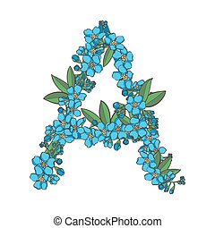 Forget me not vector alphabet. Letter A