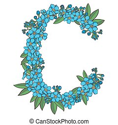 Forget me not vector alphabet. Letter C