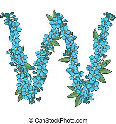 Forget me not vector alphabet. Letter W