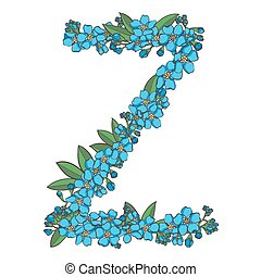 Forget me not vector alphabet. Letter Z