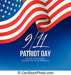 forget., vecteur, arrière-plan., nous, 2001, septembre, 11, volonté, jour, patriote, illustration, jamais