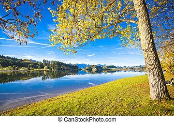 Forggensee in Allgaeu in autumn