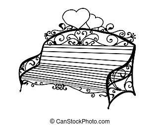forging., 庭, furniture., metal., 芸術的, shop., 偽造された, 席, 作られた, bench., 公園, 屋外, patio.., curls.