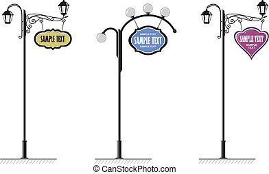 Forging - wrought-iron street lamps with a sign for...