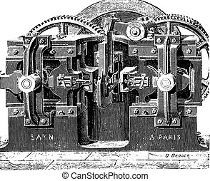 Forging machine nuts, vintage engraving.