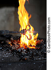 Forging product is heated in the furnace